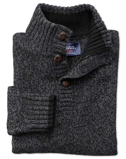 Charcoal mouline button neck sweater