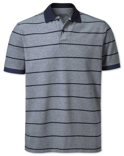 Navy stripe Oxford pique polo