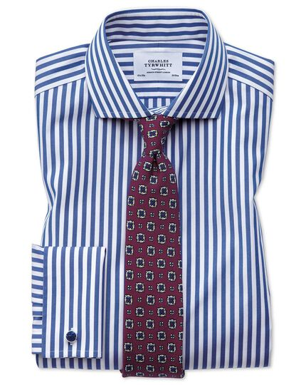 Extra slim fit cutaway non-iron Bengal stripe blue shirt