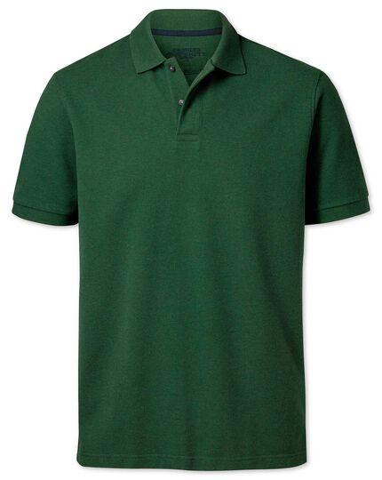 Green cotton pique polo