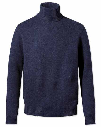 Navy roll neck Donegal merino jumper