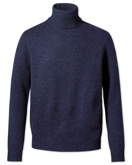 Navy roll neck Donegal merino sweater
