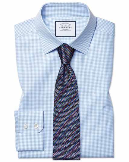 Slim fit light sky blue small gingham shirt