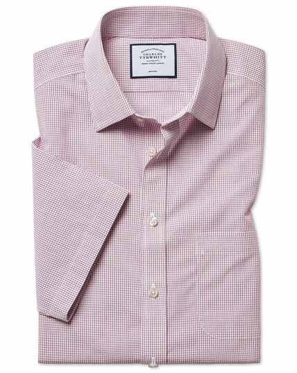 Classic fit non-iron Tyrwhitt Cool poplin check short sleeve berry shirt