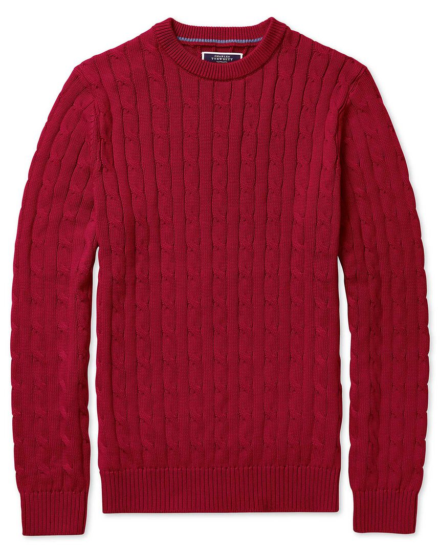 Red pima cotton crew neck jumper