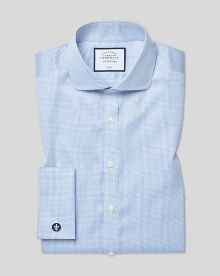 Spread Collar Non-Iron Cotton Stretch Shirt - Sky