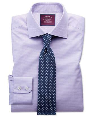 Classic fit semi-spread collar luxury poplin lilac and white shirt