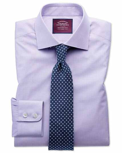 Classic fit semi-spread collar luxury poplin lilac and white shirt