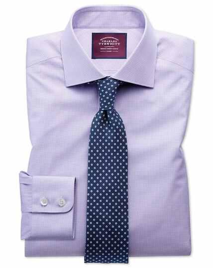 Slim fit semi-spread collar luxury poplin lilac and white shirt