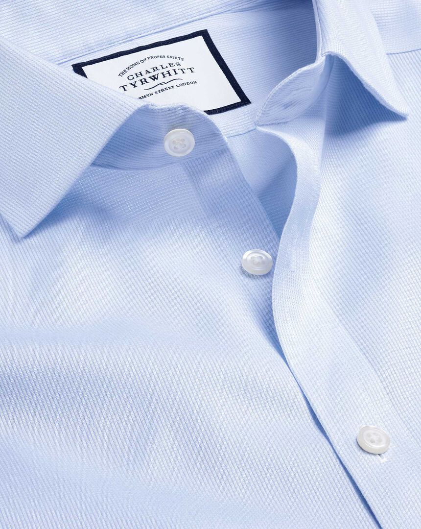 Cutaway Collar Non-Iron Cotton Stretch Shirt - Sky