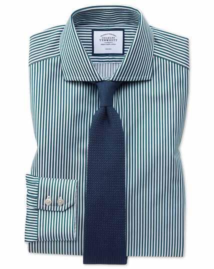 Chemise bleu canard en twill à rayures et col cutaway extra slim fit sans repassage