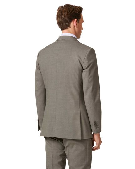 Natural puppytooth slim fit Panama business suit jacket