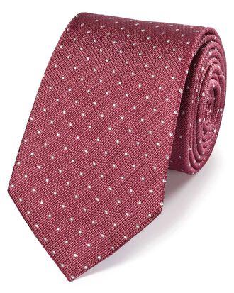 Klassische Krawatte aus Seide mit strukturierten Tupfen in Korallrot und Weiß