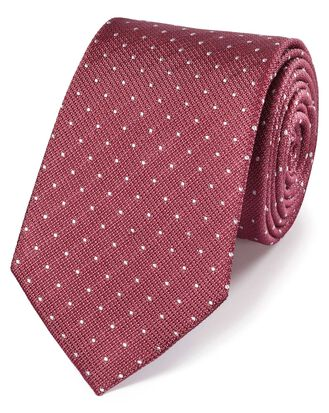 Coral and white silk textured spot classic tie