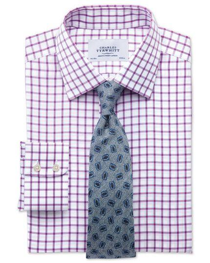 Bügelfreies Classic Fit Hemd aus Twill in Lila mit Gitterkaros