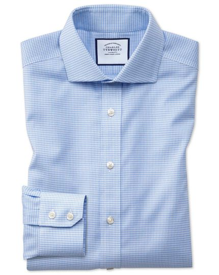 Slim fit non-iron sky blue puppytooth Oxford stretch shirt
