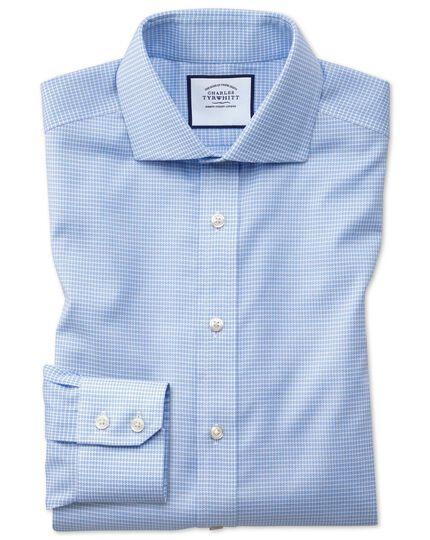 Slim fit non-iron sky blue puppytooth Oxford stretch shirt