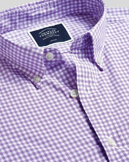 Button-Down Collar Soft Washed Stretch Poplin Check Shirt - Lilac