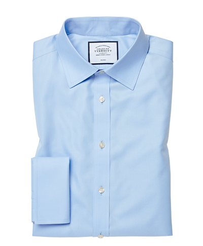 Classic fit non-iron twill sky blue shirt