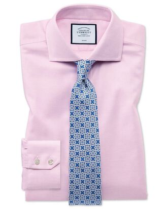 Chemise rose en oxford stretch slim fit à carreaux et col cutaway sans repassage