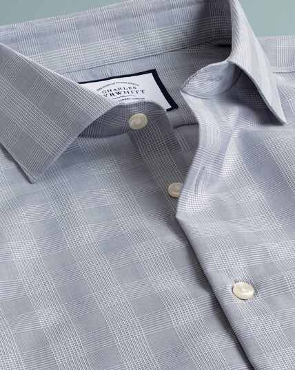Slim fit business casual non-iron grey windowpane check shirt