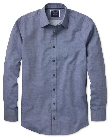 Slim fit blue soft textured shirt