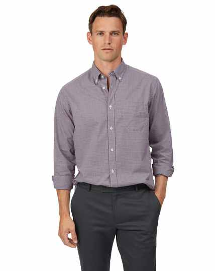 Classic fit soft washed non-iron stretch poplin red check  shirt