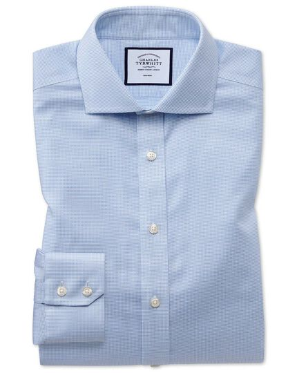 Chemise bleu ciel en oxford de coton stretch slim fit sans repassage