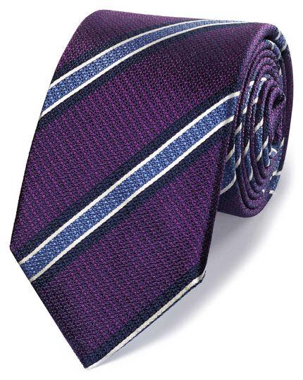 Purple and sky silk textured stripe classic tie