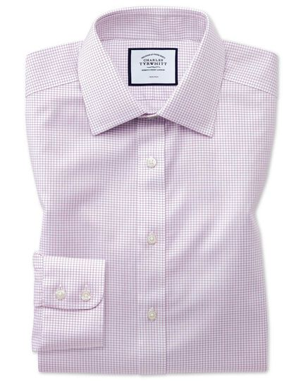 Slim fit non-iron twill mini grid check purple shirt