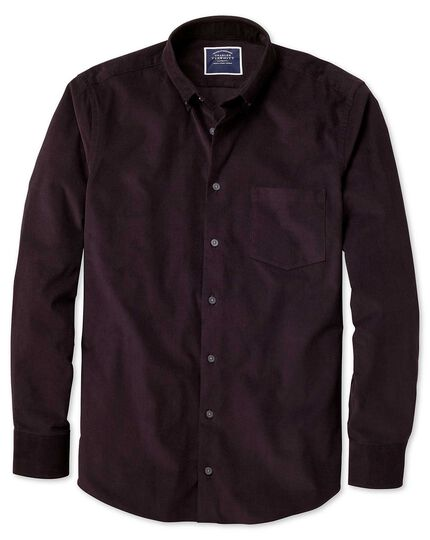 Extra slim fit plain dark purple fine corduroy shirt