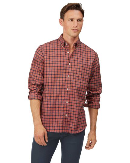Classic fit orange and navy check soft wash non-iron twill shirt