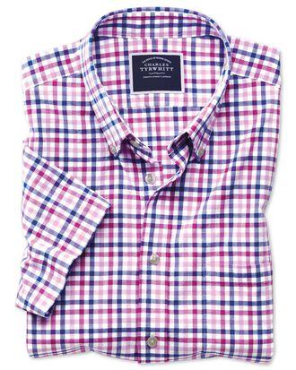 Chemise vichy rose en popeline coupe droite à manches courtes