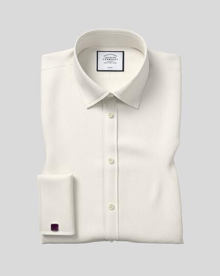 Bügelfreies Classic Fit Popeline-Hemd in Cremefarben