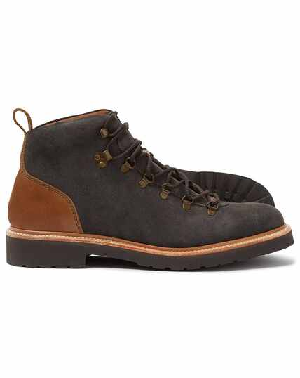 Grey suede Goodyear welted commando boots