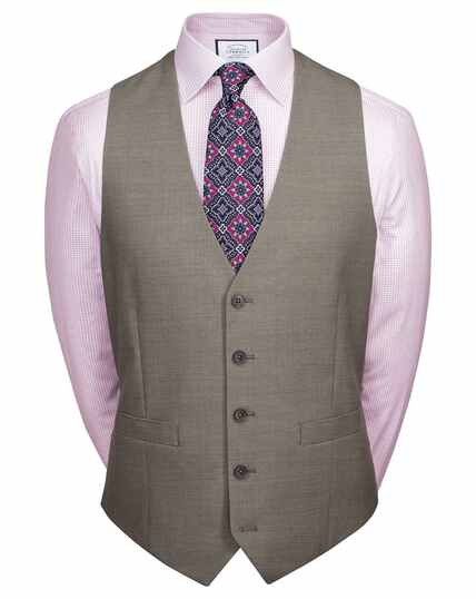 Natural puppytooth slim fit Panama business suit waistcoat