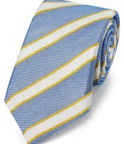 Blue and gold silk mix grenadine stripe Italian luxury tie