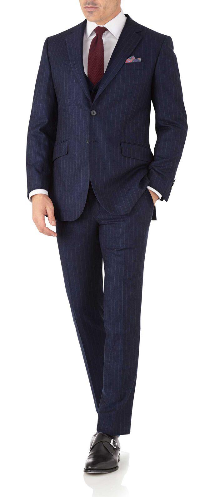 Slim Fit Business Anzug aus Flanell in Marineblau mit Streifen