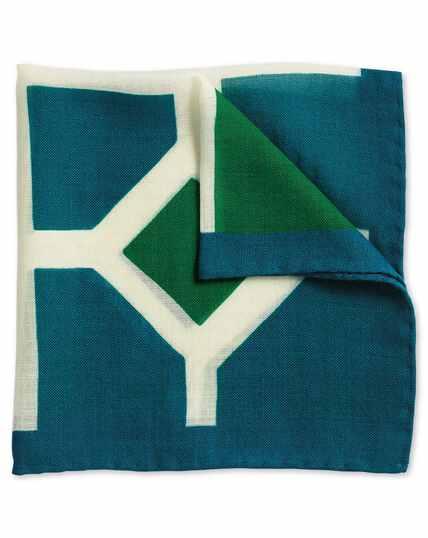 Pochette de costume luxe verte et bleue en tissu italien
