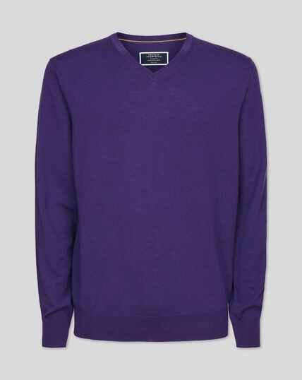 Merino V-neck Sweater - Purple