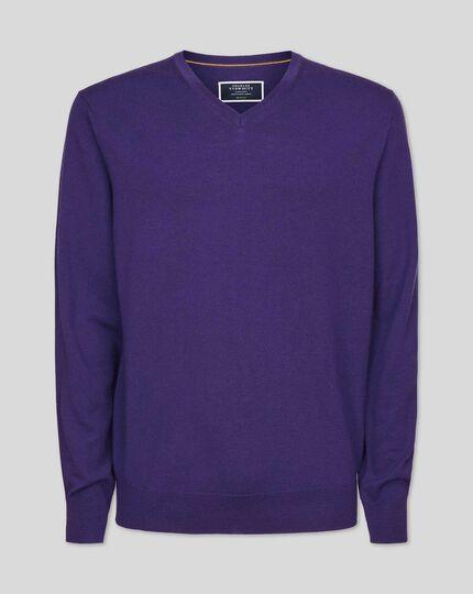 Pull en laine mérinos à col V - Violet