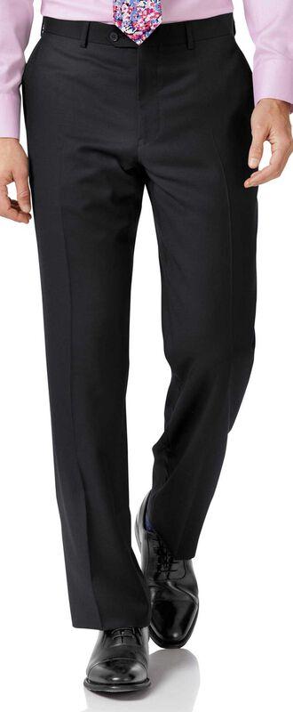 Pantalon de costume business noir coupe droite en twill