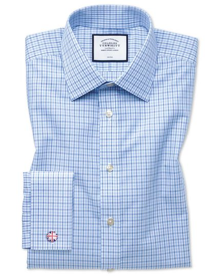Classic fit non-iron poplin blue and sky blue shirt
