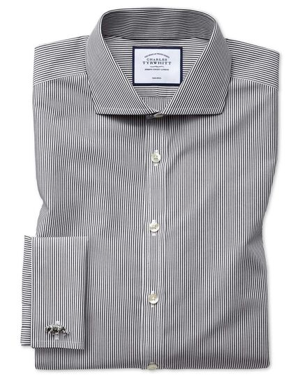 Super slim fit non-iron black Bengal stripe shirt