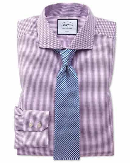 Extra slim fit non-iron natural cool pink check shirt