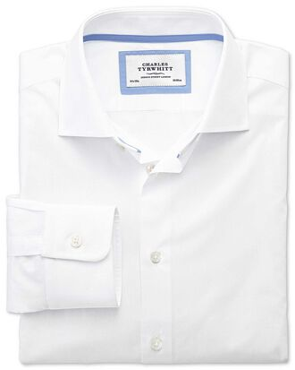 Chemise business casual blanche coupe droite à col semi cutaway