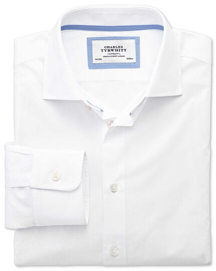 Classic fit semi-cutaway collar business casual white shirt