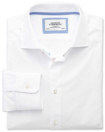 Extra slim fit semi spread collar business casual white for Semi spread collar shirt