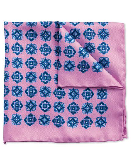 Lilac and blue classic medallion pocket square