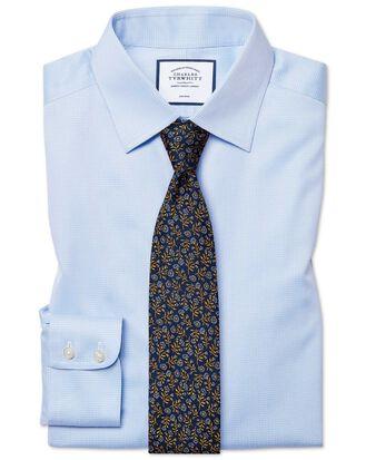 Bügelfreies Classic Fit Hemd in Himmelblau mit Hahnentritt